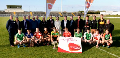 Pictured at Austin Park Tralee for the launch of Garvey's SuperValu sponsorship of the 2016 Kerry GAA Senior Football and Hurling County Championships were: Tomás and Jim Garvey, Kevin McCarthy from Garvey's SuperValu; with club players: Padraig Reidy, St. Kieran's; Dara Roche East Kerry; Paul McMahon, St. Brendan's; Danny O'Sullivan, Kerins O'Rahillys; Wayne Guthrie, Austin Stacks; George O'Keeffe, Rathmore; David Roche, Milltown-Castlemaine; Cathal Bambury, Dingle; Johnny Buckley, Dr.Crokes and Donnchadh Walsh Mid Kerry. Also included are: Patrick O'Sullivan, Chairman, Kerry County Board, Eamonn Fitzmaurice, Kerry manager and officers of the county board. This is the fifth year of the sponsorship of both the senior football and hurling championships. Photograph: Don MacMonagle.