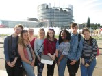 Barry Sugrue, Erin Fitzgibbon, Collette O'Shea, Eimear Horgan, Atlanta Kennedy, Aisha Lawal, Eoghan O'Donnell and Sinead Leen outside the European Parliament