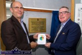 Michael Harnett who travelled from Co. Down for Wednesday's dedication of Castleisland's library to his ancestor, Mother Joseph Harnett. He is pictured showing Mayor Bobby O'Connell the proof of the book he is about to send to the printers. ©Photograph: John Reidy
