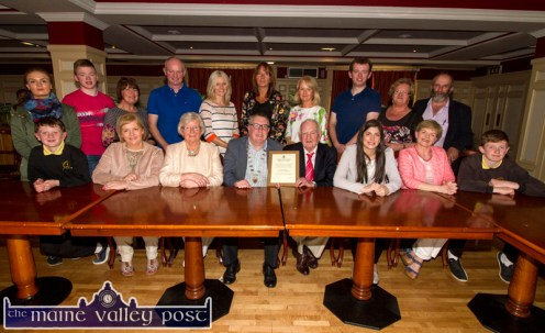 Killarney Municipal District Mayor, Cllr. Bobby O'Connell presenting Coolavanny Bingo owner/ trainer, Noel Browne with a certificate during the civic reception in his honour during the special meeting at the River Island Hotel, Castleisland on Wednesday. Included are, front from left: Billy Walsh, Aileen Lynch, Cáit Browne, Mayor O'Connell and Mr. Browne, Cllr. Maura Healy Rae, reception proposer; Kate Dennehy and Paddy Walsh. Back row: Kate and Tommy Dennehy, Anne Browne, Tom Browne, Susan Walsh, Mary Browne, Eimear Harty, Conor Browne, Eileen Brennan and Danny Healy Rae, TD. ©Photograph: John Reidy
