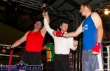 John Roche's arm is raised by referee, Paul Griffin after his bout with Dermot Hanifin.