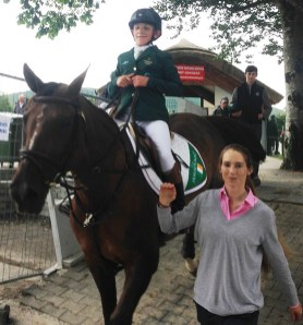 Leaving the arena in Millstreet on Coral du Carel with Maura Counihan.