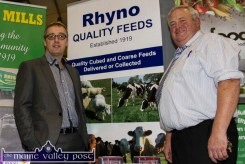 John Naughton (left) and Con Horan at the Rhyno Mills stand at last year's Bank of Ireland Enterprise Town Expo at Castleisland Community Centre. ©Photograph: John Reidy