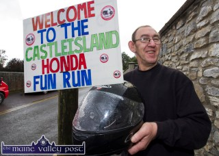 I'm smiling- God Blast You! was Jim Griffin's response to the semi-automatic prompt as he prepared for the start of the eighth annual Honda Run at Creamery Lane. ©Photograph: John Reidy