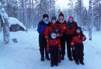 Killian, Doreen and Sinéad Buckley with Eileen and Christina Long with Christina's son, Seán Walsh in Lapland.