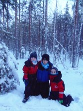 Sinéad and Killian Buckley with Seán Walsh enjoying the snow after they arrived in Lapland.