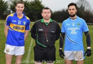 Cordal Captain, Philip O'Connor, Referee Brian Hickey, Rathmore and Firies Captain Stephen Foley pose for a photo before Sunday's game. ©CúlPix/ Nora Fealey 2017