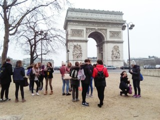 Photographs and selfies at the Arc de Triomphe for the Pres students on tour.