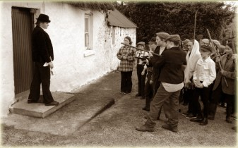 The landlord is confronted and surrounded by The Moonlighters in Gortacoppal, Scartaglin.