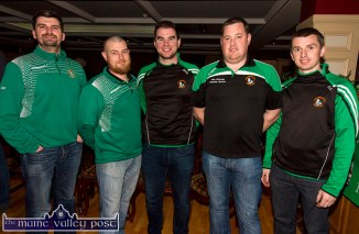 At the Castleisland Community College / Castleisland AFC All Weather Pitch Information Evening at the River Island Hotel on Thursday were, from left: Dan Maunsell, John Coffey, Neil O'Sullivan, Kevin Moran and Paul Carmody. ©Photograph: John Reidy
