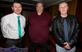Castleisland AFC Chairman and event MC, Patrick O'Rourke (left) pictured with: Pádraig Harnett, Secretary, Kerry Schoolboys and Schoolgirls League with former senior team manager Edward Hartnett at the Castleisland Community College / Castleisland AFC All Weather Pitch Information Evening at the River Island Hotel on Thursday night. ©Photograph: John Reidy