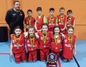 Coach, Tommy Dom O'Connor with his St. Mary's U-11 Mixed basketball team which won the Kerry Community Games final. They now forward to the Munster championships on April 2nd in UL. Front from left are: Katie Kerins, Mollie Mahony, Tara Kerin, Ellie Mai Walsh and Amalie Kerin. Back row: Coach O'Connor, Jamie Kerins, Gerard Costello, Killian Dennehy, captain; Issac Brosnan and Thomas Jones.