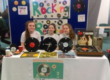 The Rocking Records / vinyl clocks team from the Pres includes from left: Maggie O'Callaghan, Leah Pidgeon and Hillary O'Connor.