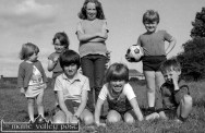 The Railway Children Playing in The Polo: Front from left: Peter Carty, Cathal Breen and Thomas Hayes. Back row: Mandy, Marie and Linda Keane and Micheál Reidy. ©Photograph: John Reidy 2-7-1983