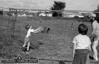 The Railway Children: Peter Carty in the makeshift goals with John Reidy and Cathal Breen threatening to strike. ©Photograph: John Reidy 2-7-1983