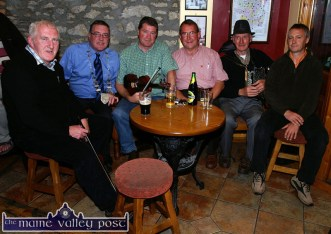 At the Bannalec / Castleisland Twinning reception at The Half Barrel Bar in Castleisland in July 2009 were from left: Paddy Jones, musician; Mayor of Kerry Cllr. Bobby O'Connell; Con Moynihan, musician; Paddy McCrohan, twinning committee chairman; Jackie Dan Jerry O'Connor, musician and Roger Carnot, Chairman of the Bannalec Twinning Committee. ©Photograph: John Reidy 27/07/2009