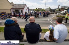 Mikey Bawn Conway, Stephen Hill, Kellie Keane and Andrew Kelly at their vantage point at Market Cross as the Coiste Na nÓg 50th anniversary parade sets out in Castleisland on Sunday. ©Photograph: John Reidy
