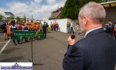 Former GAA National President, Seán Kelly, MEP addressing the gathering at the start of the Coiste Na nÓg 50th anniversary parade in Castleisland on Sunday. ©Photograph: john Reidy
