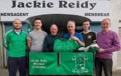 Jackie Reidy (centre left) presenting a set of gear to members of St. Kieran's GAA Club ahead of their meeting with Austin Stacks in Tralee on Saturday evening. Included are, from left: Barry Lynch, Castleisland Desmonds GAA Club; Pádraig Reidy, Jackie Reidy, Scartaglin GAA Club; Tim Dineen, Scartaglin GAA Club; Philip O'Connor, Cordal GAA Club and Jack O'Connell, Knocknagoshel GAA Club. ©Photograph: John Reidy