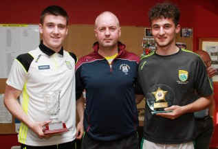 Martin Horgan, chairman Scartaglen GAA Club made presentations to Eddie Horan (left) and Shay Walsh to honour their achievements in making the Kerry minor and U-17 teams in 2017. Photograph: Tom O'Donoghue / Kingdom Photography