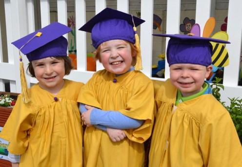 Ricardo Nolan, Sean Brook and Oisin Tarrant at their Bright Beginnings Graduations. Photograph: Liz Galwey