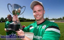 League Final Goal Hero, Steven McCarthy with the Denny Premier B League Final Cup after the Castleisland AFC B and Mastergeeha game at Mounthawk Park on Sunday afternoon. ©Photograph: John Reidy