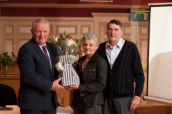 Irish Farmers' Association Deputy President, Richard Kennedy making a presentation to Janet Murphy for her advice and help in the production and design of the book, Listowel To The Liffey with its author, Johnnie Roche. Photograph: John Walsh