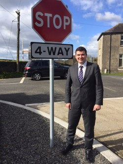 Research on the Road: Minister Brendan Griffin in Milemill, Co. Kildare to observe in motion what he's proposing for Ballyfinnane Crossroads.