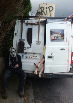 Dead from work: The Moanmore collection van taking a frightfully short break on its way to The Market House for the Halloween Night Spooktacular. Photograph: Aileen Lynch