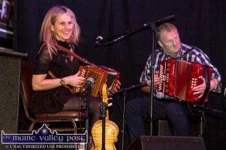 Proprietor, John Reidy on stage with Sharon Shannon during the concert at Ó Riada's Bar and Restaurant in Ballymacelligott on Friday night. ©Photograph: John Reidy