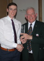 Philip O'Connor being presented his award by East Kerry Board Chairman Johnny Brosnan at Saturday night's celebration. Photograph: Danny Kelliher.