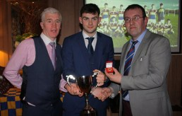 Club Chairman. Maurice Costello (left) and Secretary, Richard O'Donoghue with Sean O'Connell after he was presented with his award on Saturday night. Photograph: Danny Kelliher