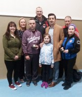 Acknowledging the voluntary efforts of coaches and organisers at the 10th annual KDYS / Garda Good Friday Basketball Blitz at Castleisland Community Centre. Included are: Helena Falvey, KDYS Youth Justice Worker; Garda Liz Twomey, John Begley, Maurice Casey, Andrea Greer, with guest, garda Aidan O'Mahony, Eamon Egan and Garda Majella Ahern. Photograph: KDYS/ Garda