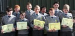 Music and Singing Awards. Front from left: Seamus Fleming, Diarmuid Daly, Pat Mahony, Kallum Buckley, Eoin McSweeney. Back from left: Bryan Daly, Donncha Daly, Tadhg Broderick and Tony Horgan.