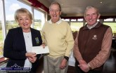 Castleisland Members' Golf Club Lady Captain, Maryann Downes receiving a presentation of a cheque for the ladies club from the 2018 mixed scramble organiser, Cyril Quigley with President, Patsy Sweeney after the final scramble of the series on Wednesday. A winter scramble begins this Wednesday morning from 10am at the club. ©Photograph: John Reidy