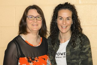 Patricia Brosnan and Louise Nelligan McCarthy enjoying the Currow GAA Lord Mayor election night at Currow Community Centre on Friday night. Photograph: Con Dennehy.