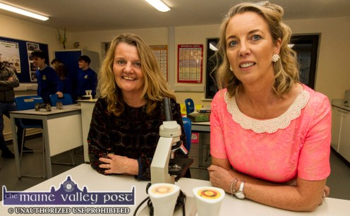 Castleisland Community College Board of Management member, Lorna Keane (left) with college acting principal, Theresa Lonergan at the launch of the new science lab at the college on Friday night. ©Photograph: John Reidy