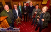 Minister for Sport and Tourism, Brendan Griffin, TD (centre) pictured at the official opening of the 26th annual Patrick O'Keeffe Traditional Music Festival at the River Island Hotel on Friday night. Included are from left: Patsy O'Donoghue, Cllr. Bobby O'Connell, Concubhar Ó Mathúna, Cormac O'Mahonhy, Eoin Stan O'Sullivan and Paddy Jones. ©Photograph: John Reidy