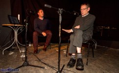 The interview: Host, Paudie O'Connor talking to Peter Browne at the Handed Down special tribute to Peter in Scartaglin on Saturday night. ©Photograph: John Reidy