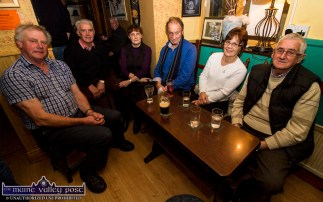 Locals, Paddy Angland (left) pictured with: Jack Lane, Kathleen Angland and Tom Buckley with Kay Harrington, Clonmel and Michael Keyes Carrick-on-Suir enjoying the Monday night session at Scully's Bar, Newmarket. ©Photograph: John Reidy