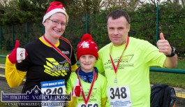 Mary and David Toomey and their son, Dylan from Listowel after the Run Rudolph Run 5K Road Race in Castleisland on Sunday. ©Photograph: John Reidy