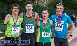 The first four home in the Run Rudolph Run 5K Road Race in Castleisland on Sunday were from left: Conor O'Mahony 1st; Tim O'Connor, 2nd; Seán O'Sullivan, 3rd and Arthur Fitzgerald 4th. ©Photograph: John Reidy