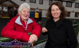Joan Buckley Firies (left) and Maura Prendiville-Doherty, Castleisland at the annual GOAL Mile at An Ríocht AC in Castleisland on Christmas morning. ©Photograph: John Reidy