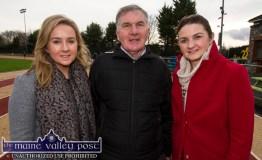 Sisters, Mairéad (left) and Eilish O'Leary with dad, Tom at the annual GOAL Mile at An Ríocht AC in Castleisland on Christmas morning. ©Photograph: John Reidy