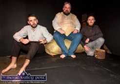 Members of the Sliabh Luachra Drama Group from left: Ger O'Connor with Danny McClure and Freddie Galvin at rehearsals for their staging of Translations by Brian Friel from this weekend. ©Photograph: John Reidy