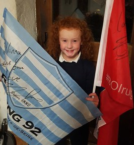 This week: Hanna with the flags which were sent to her by her hero Simon Zebo.