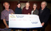 Trish Kelly (left) and Breda Dyland representing the Corh Kerry Health Link Bus accepting a chaque for €1,000 from River Island Hotel Card Players: Johnny Healy, Paddy O'Mahony and Frank Moran. ©Photograph: John Reidy