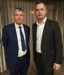 The just nominated Cllr. Pa Daly with Sinn Féin spokesperson on Finance and Public Expenditure and Reform, Pearse Doherty, TD at the Rose Hotel, Tralee on Friday night. Photograph Courtesy of Sinn Féin Kerry