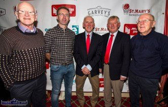 Ciaran Fleming (left) pictured with: Tom McCarthy, Donal 'Duke' O'Connor, Ned O'Callaghan and Paul Geaney at Friday night's launch of the St. Mary's Basketball Club 50th Blitz at the River Island Hotel Castleisland. ©Photograph: John Reidy