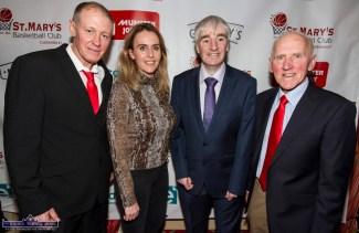 St. Mary's Basketball Club Chairman, Eamon Egan (left) pictured with: Marion O'Connor, Walsh Colour Print / Educate.ie; Vincent Barry, St. Mary's and Blitz founder, Donal 'Duke' O'Connor at the launch of the club's 50th Christmas Blitz details at the River Island Hotel on Friday night. ©Photograph: John Reidy